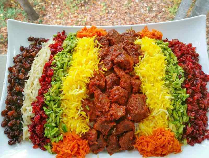 Polo Haft Rang is a traditional dish served on the occasion of Chaharshanbe Suri