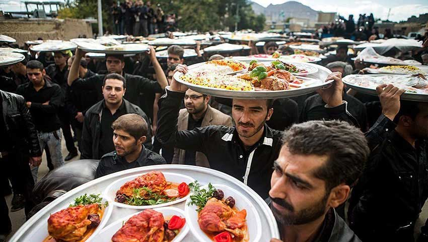 People giving away free food as Nazri on the streets of Iran